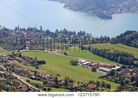 Plainfait landing field above Lake Annecy in France ** Note: Soft Focus at 100%, best at smaller sizes