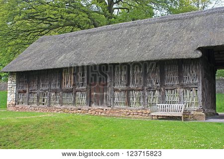 Stryd Lydan ancient thatched barn in Wales