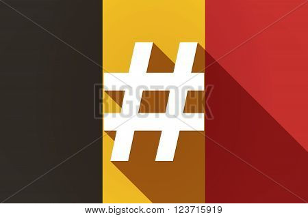 Long Shadow Belgium Flag With A Hash Tag
