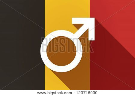 Long Shadow Belgium Flag With A Male Sign
