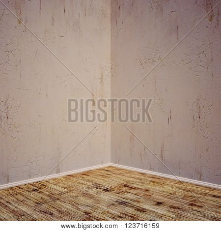 Grunge Interior Concrete Wall, Wood Floor. Room For Display Or Montage Product.