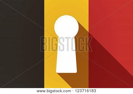 Long Shadow Belgium Flag With A Key Hole