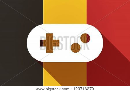 Long Shadow Belgium Flag With A Game Pad