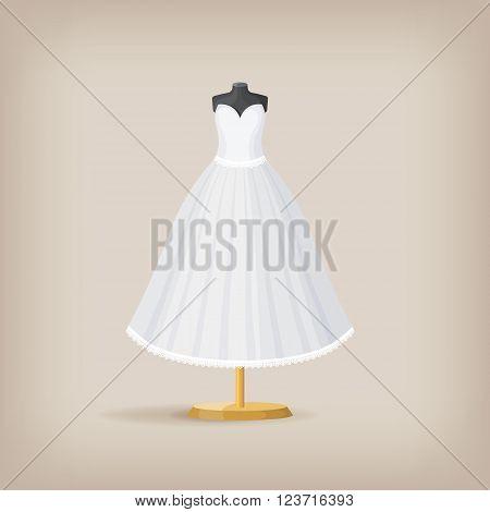 Wedding dress on a mannequin. Vector illustration EPS10
