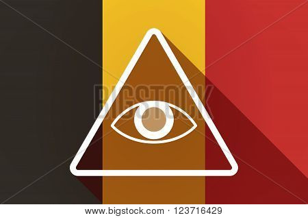 Long Shadow Belgium Flag With An All Seeing Eye