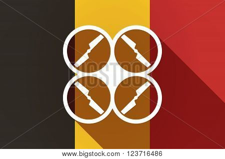 Long Shadow Belgium Flag With A Drone