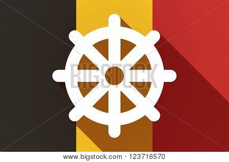 Long Shadow Belgium Flag With A Dharma Chakra Sign