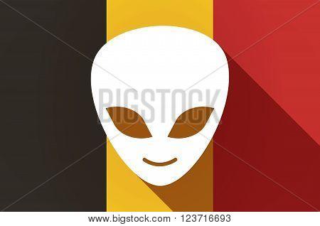 Long Shadow Belgium Flag With An Alien Face