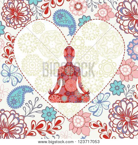 Ornament beautiful background with lotus position yoga in heart shape. Geometric element hand drawn. Concept of peace and love.