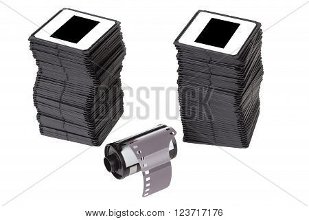 film cartridge with slides over white background