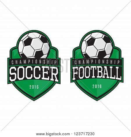 Vector labels of soccer and football. Logo of soccer and football championship. Vector template.