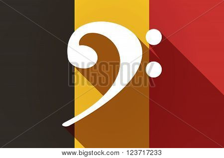 Long Shadow Belgium Flag With An F Clef
