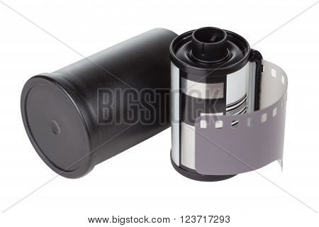 film cartridge with can over white background