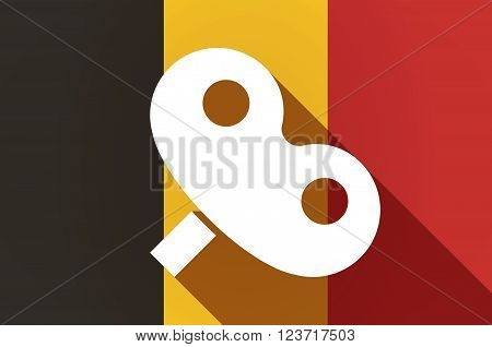 Long Shadow Belgium Flag With A Toy Crank