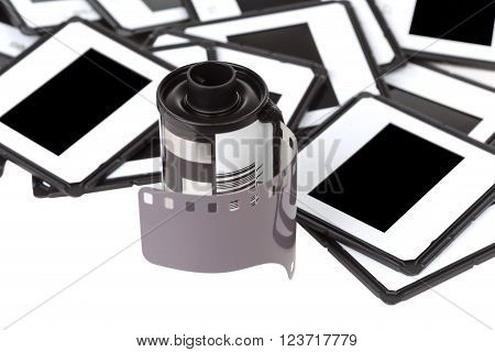 film cartridge on the background of a slide