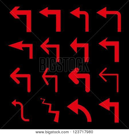 Turn Left vector icon set. Collection style is red flat symbols on a black background. Turn Left icons.