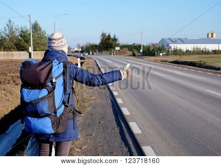 Winter Hitchhiking, Backpack