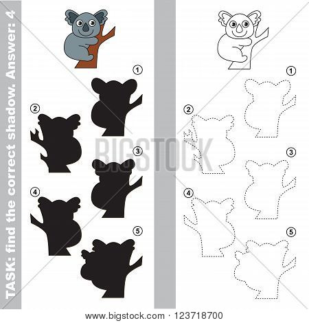 Koala with different shadows to find the correct one. Compare and connect object with it true shadow. Visual game for children.