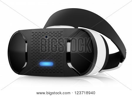 VR virtual reality headset half turned front view isolated on white background. VR is an immersive experience in which your head movements are tracked in 3d world VR is the future of gaming.