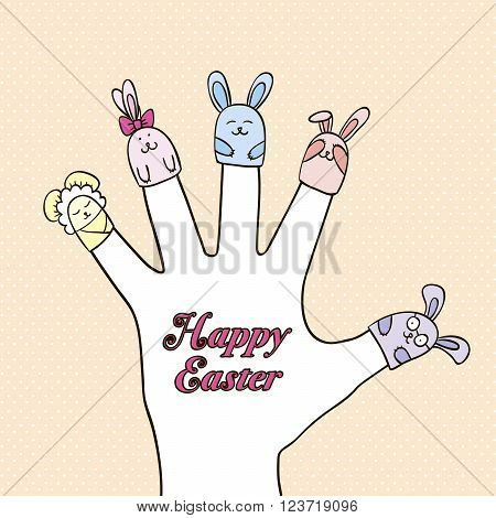 puppet toy rabbits dressed in the fingers of the hand