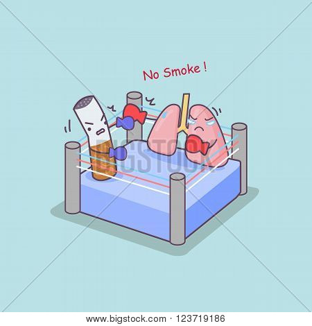cute cartoon cigarette boxing with lung great for health care concept