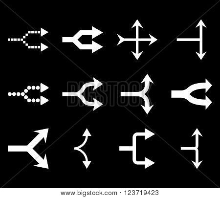 Junction Arrows Right vector icon set. Collection style is white flat symbols on a black background. Junction Arrows Right icons.