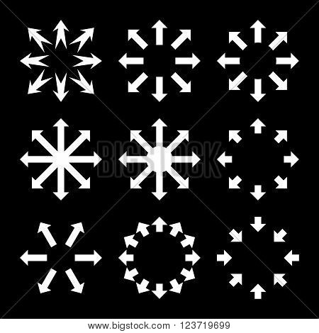 Maximize Arrows vector icon set. Collection style is white flat symbols on a black background. Maximize Arrows icons.
