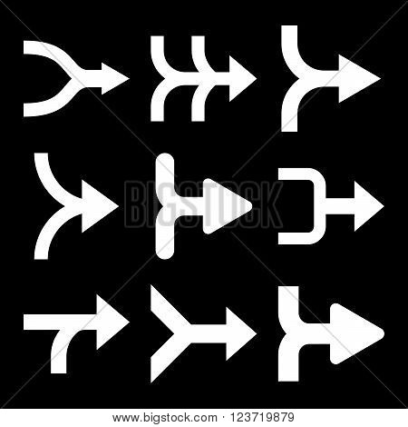 Merge Arrows Right vector icon set. Collection style is white flat symbols on a black background. Merge Arrows Right icons.