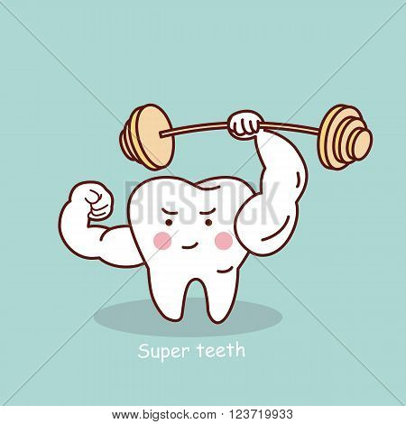 cute cartoon strong tooth with dumbbell great for health dental care concept