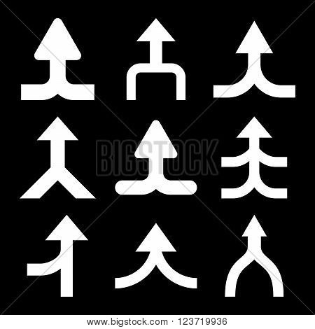 Merge Arrows Up vector icon set. Collection style is white flat symbols on a black background. Merge Arrows Up icons.