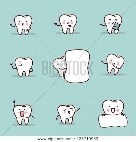 cute cartoon tooth introduce something set great for health dental care concept