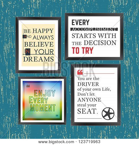 Quotes motivation frame. Quote motivational square template. Inspirational quotes. Text box layout. Vector illustration.