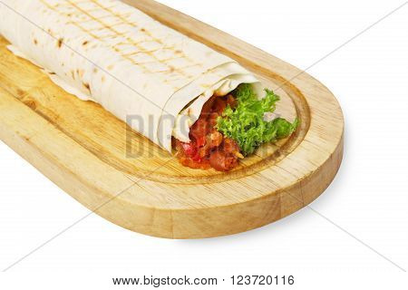 Mexican restaurant fast food - wrapped burritos with chili con carne, meat and chicken closeup at wooden desk on table. Mexican burrito at wood desk isolated at white background