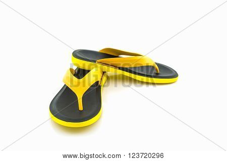 Colorful of Sandals shoes / Yellow and black flip flops on white background. ** Note: Shallow depth of field