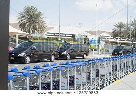 DUBAI UAE - FEB 13: luggage carts outside airport. Feb 13 2016 in Dubai United Arab Emirates