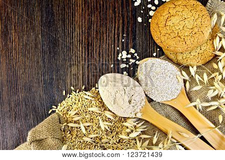 Flour and bran oat in spoon, oats stalks and oatmeal cookies on sacking on a background of wooden boards