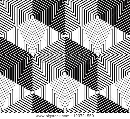 Geometric seamless pattern endless black and white vector regular background. Abstract covering with 3d figures.