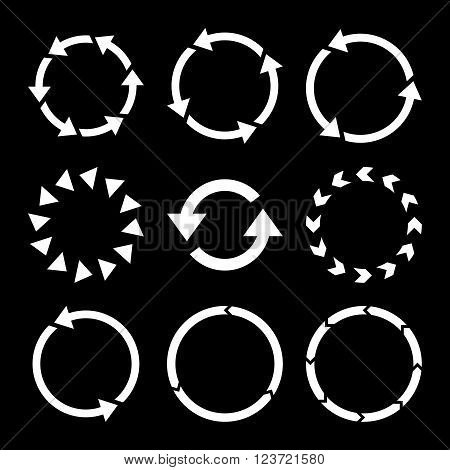 Rotation Direction vector icon set. Collection style is white flat symbols on a black background. Rotation Direction icons.