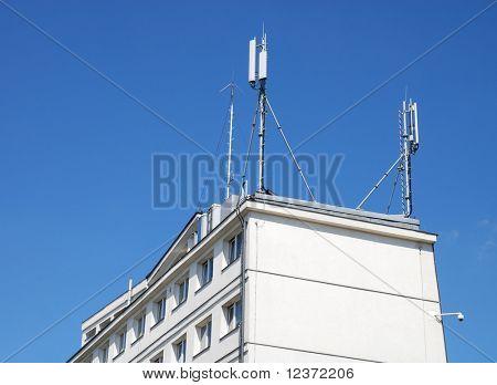 antenna on blue sunny sky
