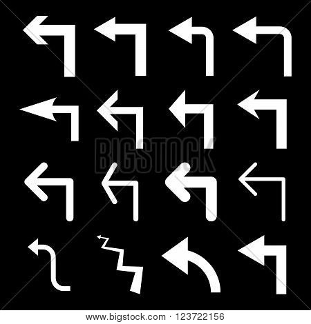 Turn Left vector icon set. Collection style is white flat symbols on a black background. Turn Left icons.