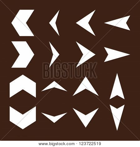 Arrowheads vector icon set. Collection style is white flat symbols on a brown background. Arrowheads icons.
