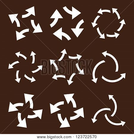 Centrifugal Arrows vector icon set. Collection style is white flat symbols on a brown background. Centrifugal Arrows icons.