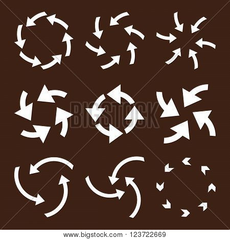 Cyclone Arrows vector icon set. Collection style is white flat symbols on a brown background. Cyclone Arrows icons.