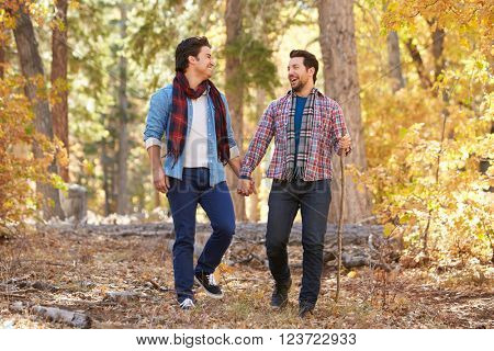 Gay Male Couple Walking Through Fall Woodland Together