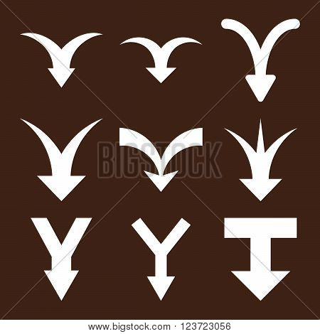 Join Arrows Down vector icon set. Collection style is white flat symbols on a brown background. Join Arrows Down icons.