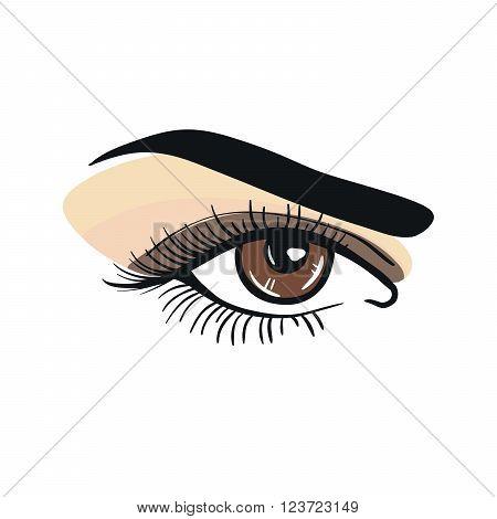 Realistic female eye close up. wide open. speaking look