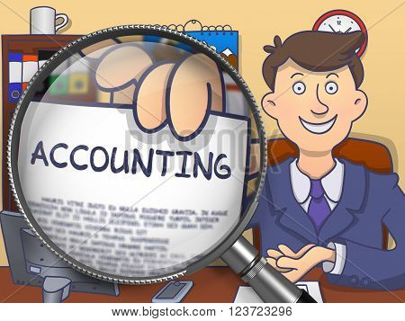 Accounting. Officeman Showing Text on Paper through Lens. Multicolor Doodle Style Illustration.
