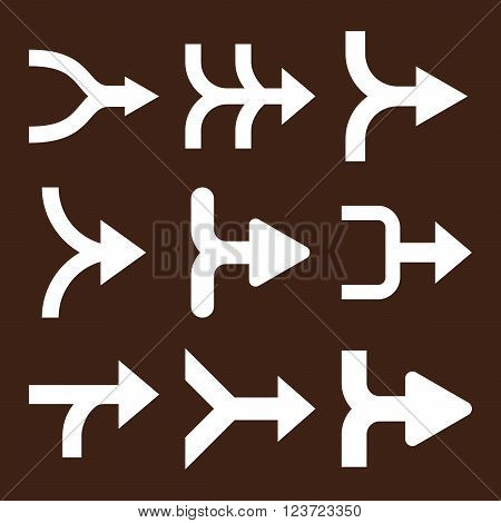 Merge Arrows Right vector icon set. Collection style is white flat symbols on a brown background. Merge Arrows Right icons.