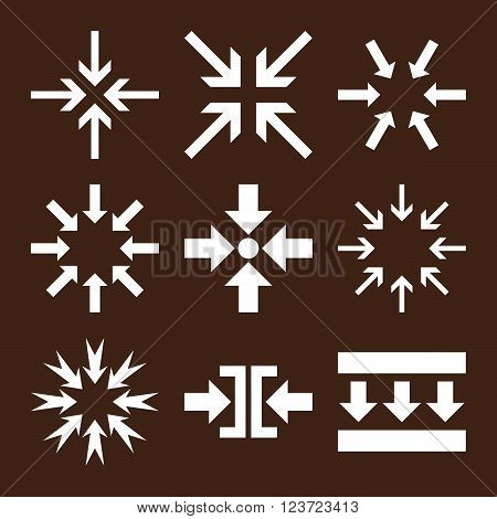 Minimize Arrows vector icon set. Collection style is white flat symbols on a brown background. Minimize Arrows icons.