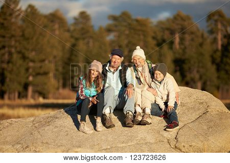 Grandparents and kids sitting on rocky outcrop near a forest